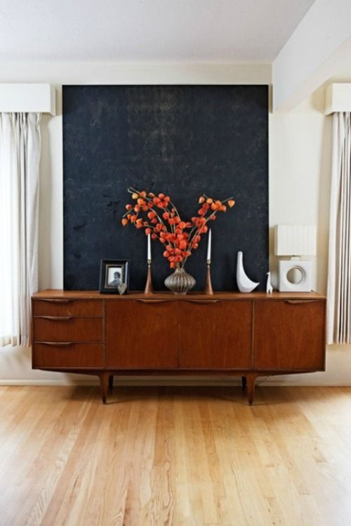 Love This Idea Of A Large Oversized Piece For Above Dining Room Hutch Dark Navy Abstract Painting Over Midcentury Buffet Great Styling And That