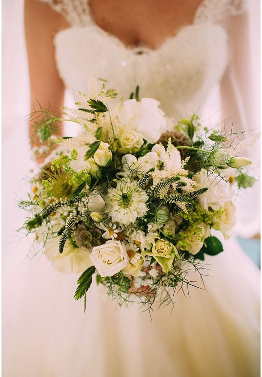 White Summer Flower Wedding Bouquet With Gres And Seed Heads By Www Wildandwondrousflowers Co