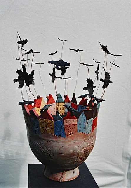 pentole città | Nancy Walker Studio Birds on piano wire comes to mind.  A table top wind chime...