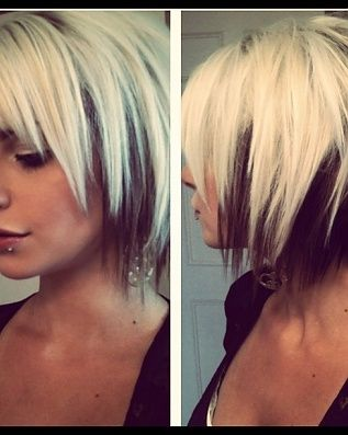 Blonde with a peek-a-boo black, choppy bob... you should do this but opposite color. @Inga Meiners Swope