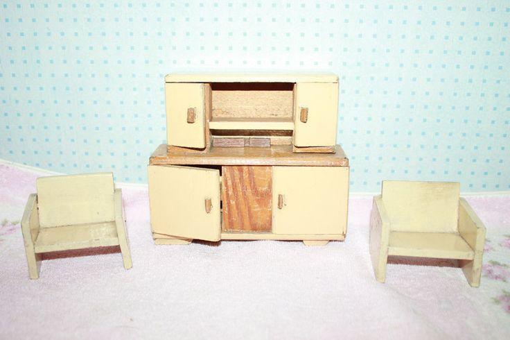 Vintage Puppenmöbel - Antike Puppenstubenmöbel Vintage Puppenmöbel weiß - ein Designerstück von Handmade-Erzgebirge bei DaWanda