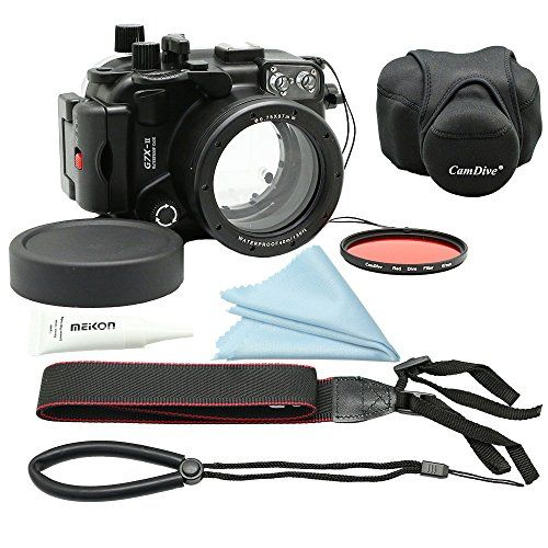 CamDive 40m/130ft Underwater Diving Camera Housing for Canon G7X Mark II Comes with CamDive Red Diving Filter