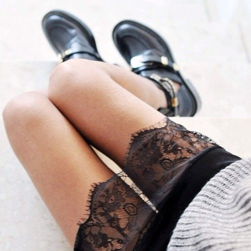Lace + chunky boots.