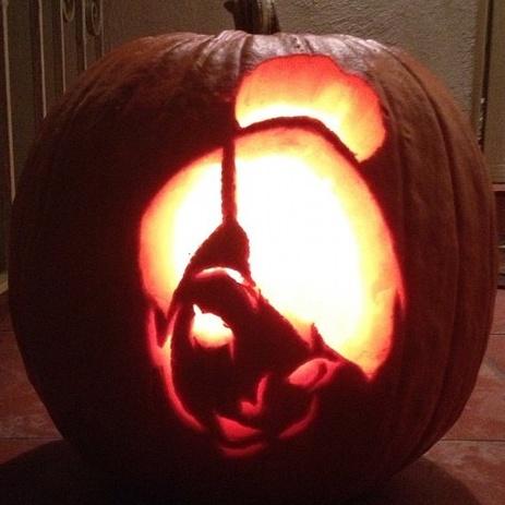 Boo pumpkin stencil carving with a drill hairrs