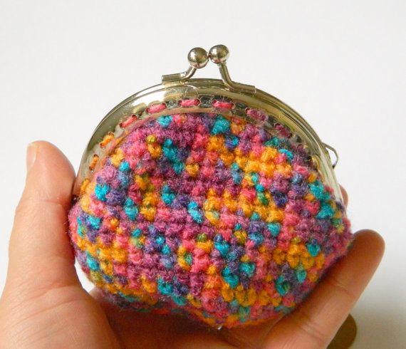 Rainbow crochet coin purse coin purse with silver by craftysou