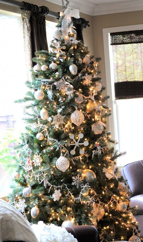 White and Silver Elegant christmas tree 132