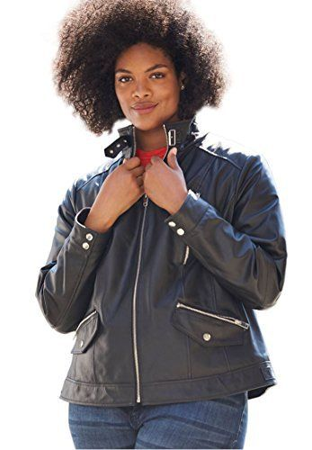Product review for Woman Within Women's Plus Size Zip Front Leather Jacket.  - A wardrobe mainstay, our updated leather biker jacket features a zip front with funnel collar that can be worn up to show off self-belt with metal buckle. Featuring long sleeves with snap cuffs, two decorative breast pockets and two functional side zip pockets, the silver buckle along the side...