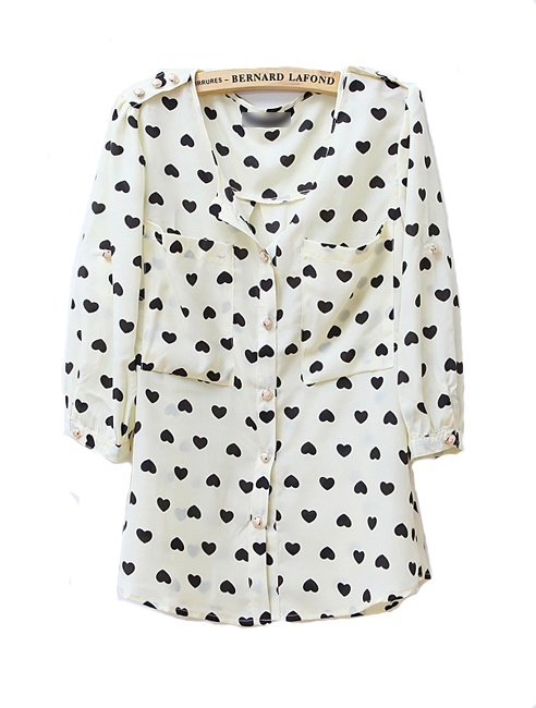 Vintage Heart Printed Round Neck Chiffon Shirt