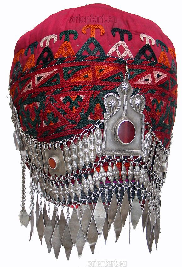 antik Uzbek orient Frauen Hochzeit Mütze antique Woman's wedding headdress N44