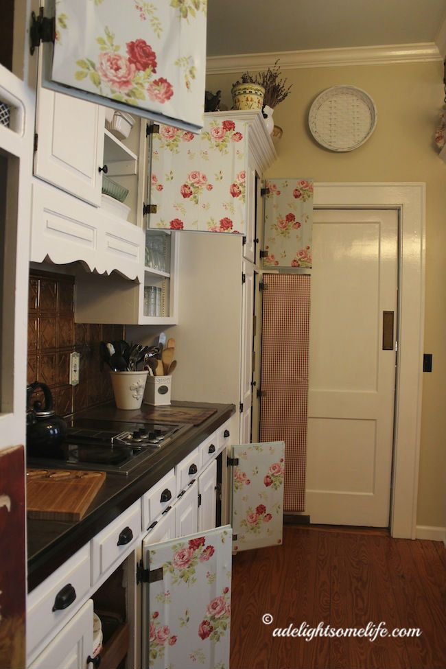 cottage idea - line the inside of cabinets with wallpaper or shelf liner to give cottage charm adelightsomelife.com