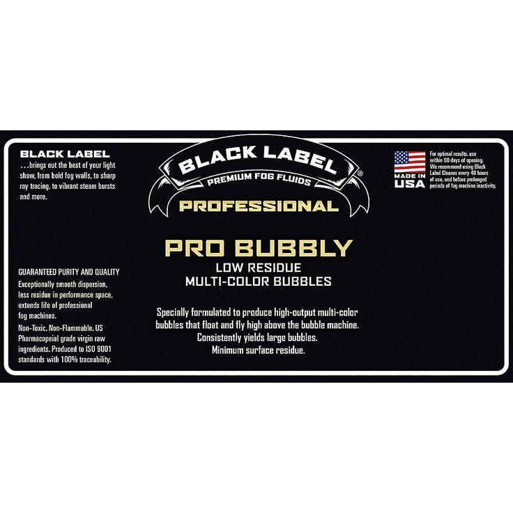 Black Label Pro Bubbly 5 gal. Professional Super Bubble Juice, Multi-color Bubbles, Low Residue