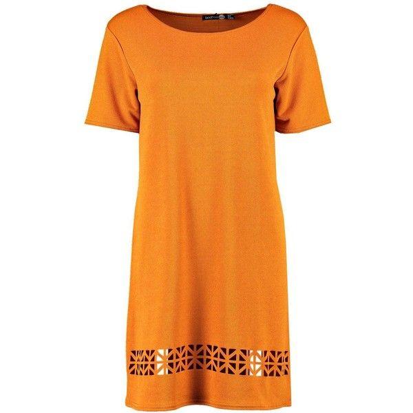 Boohoo Dalia Laser Cut Shift Dress (336.950 IDR) ❤ liked on Polyvore featuring dresses, maxi dresses, skater dresses, bodycon dresses, orange maxi dresses and body con dress