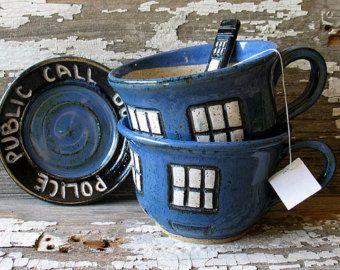 JANUARY PRE-ORDER - Police Box Tea Cup - Pottery Soup Mug - Handmade -  Doctor Who Tea Cup - Dr. Who Inspired