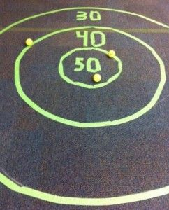 Skee-Ball: Make a target with tape on the floor and assign different point values.  Make a line for kids to stand behind and put out tennis balls or crumpled paper balls. Kids will try to score as many points as they can with the three balls.Photo courtesy of the author.