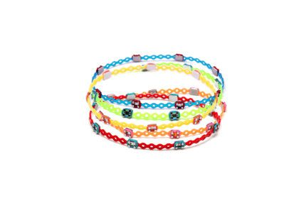 Bracelets made from orthodontic rubber bands