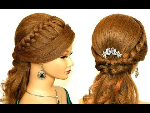 Easy prom hairstyles for medium long hair. Romantic bridal hair tutorial - YouTube