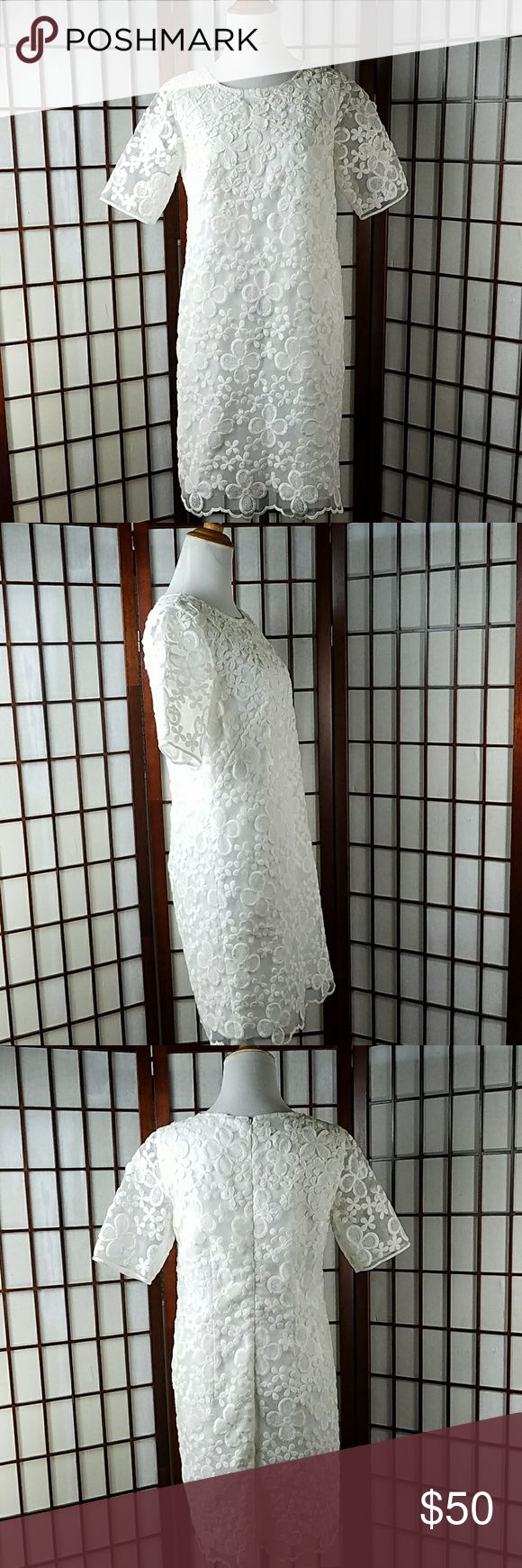 """ANN TAYLOR WHITE EMBROIDERED FLORAL Lined DRESS Pre-owned gently worn  ANN TAYLOR SIZE 2 Sheath Dress style   Embroidered floral pattern Short sleeve  Lined  White color Hidden zip back for closure Made of polyester and cotton  Measurement Approximate Pit to pit 17"""" Shoulder to hem 36"""" Waist 34"""" Ann Taylor Dresses"""