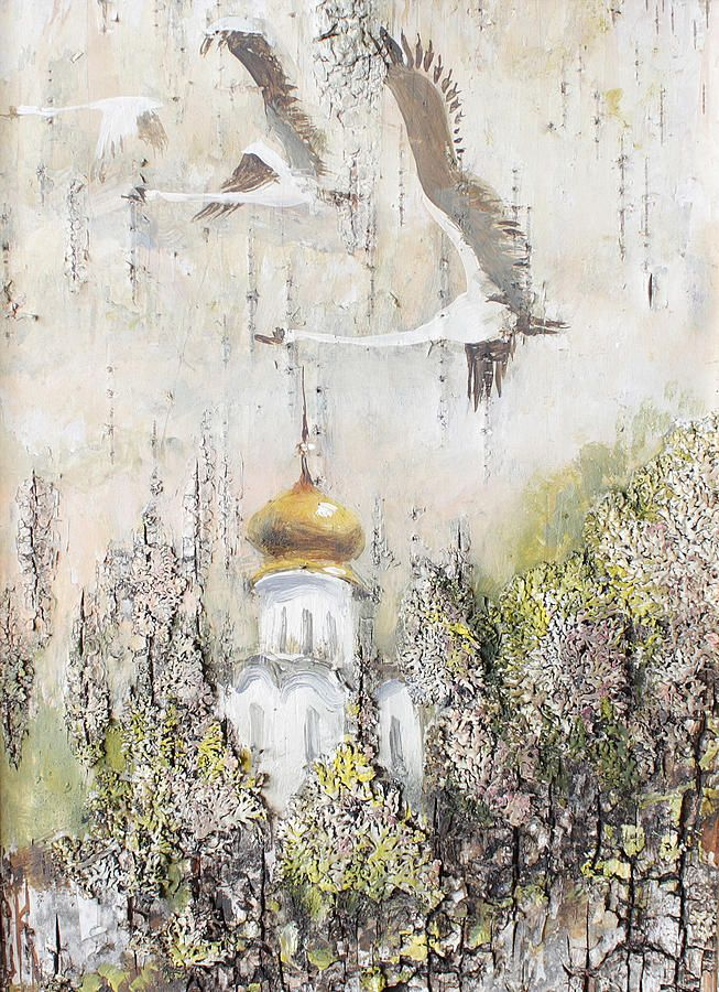 Swan Painting - Swans Flight by Ilya Kondrashov #RussianArtistsNewWave #OriginalArtForSale  #OriginalPainting #IlyaKondrashov #Church #Christianity #PaintingonBirchBark #Russia #Painting #Swans