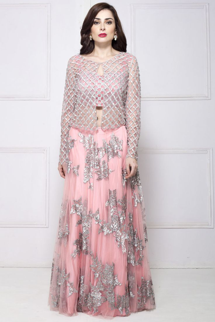 Rent SHEHLA KHAN - Blush pink jacket style lehenga set