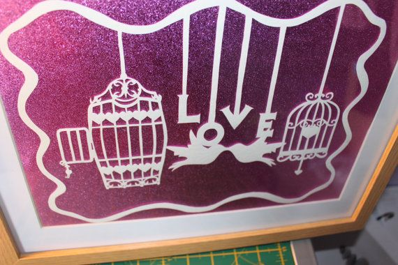 Love lovebirds handcut papercutting papercut template