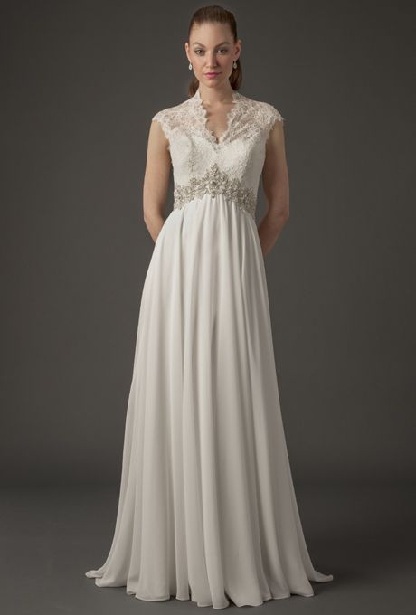 Danielle Caprese Wedding Dress - Spring 2014. Lace and chiffon sheath wedding dress with Queen Anne illusion neckline and beaded belt.