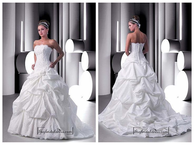 Beautiful Elegant Exquisite Taffeta Ball Gown Wedding Dress In Great Handwork