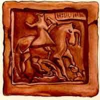 Красный терракотовый рельефный изразец с изображением всадника с птицей, на церкви Николы Мокрого (постр. 1672 г.) в Ярослав-ле.