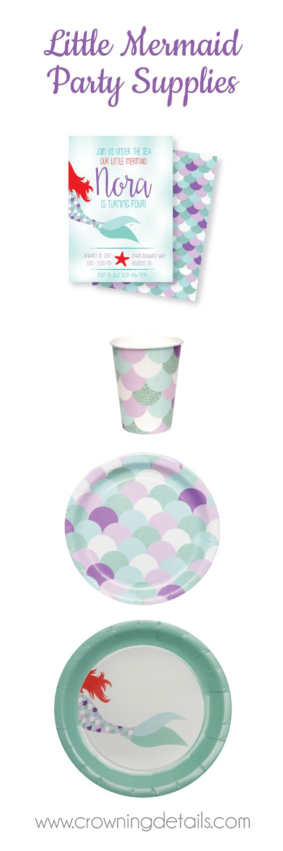 Little mermaid party supplies for your mermaid birthday party! Shop our entire collection!! Mermaid paper plates