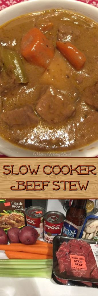 Slow Cooker Beef Stew Everyone's favorite comfort food. On a chilly night there is nothing better than a stew or soup. Packed with delicious flavor, vegetables and tender beef. #slowcooker #beefstew #easy #simple
