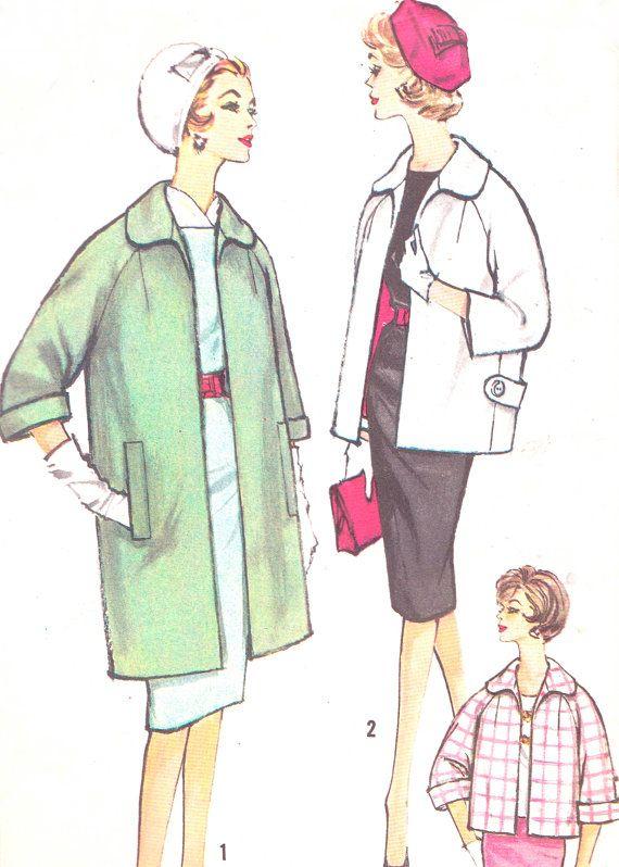 1960s Womens Coat Pattern Simplicity 3856 Long Or Short