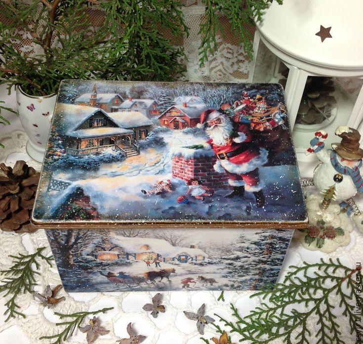 "Купить шкатулка-ларец ""Зимняя сказка"" - голубой, Декупаж, коробка для мелочей, подарок, шкатулка"