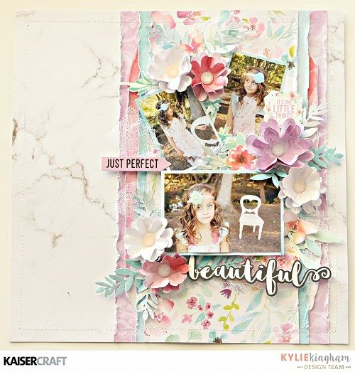 """'March 2017 Blog Challenge'. Inspiration by Kylie Kingham Design Team member for Kaisercraft Official Blog. 'Beautiful' layout featuring their 'Wildflower"""" collection (March 2017) saved from kaisercraft.com.au/blog ~ Wendy Schultz ~ Scrapbook Layouts."""