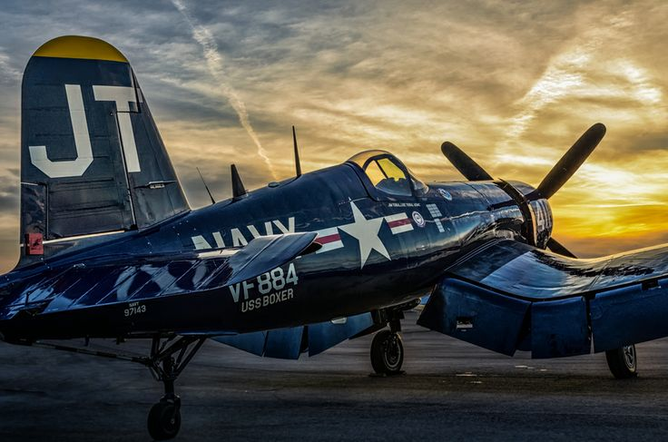 The Sun sets on Jim Tobul's F4U Corsair at the 2012 Wings Over North Georgia Airshow
