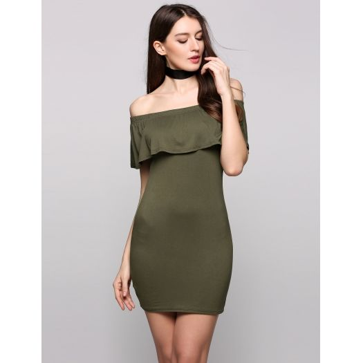 Olive Green Going Bodycon Solid Dress