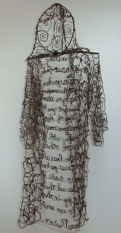"""Brown Monks Robe Humble Fiber Art Icelandic Sheep's Wool with Thomas Merton Quote by InJoyEmporium - """".using my own technique that is a fusion of hand spinning, weaving, and sewing."""""""