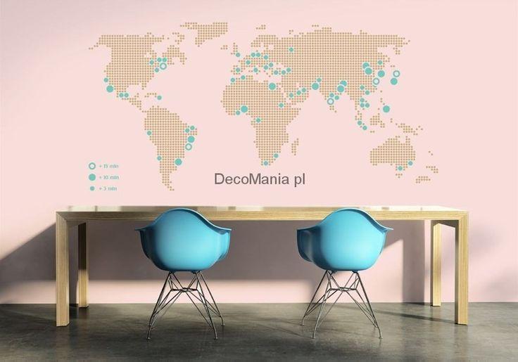 Naklejka na ścianę NSMA024 - Mapa świata z największymi miastami