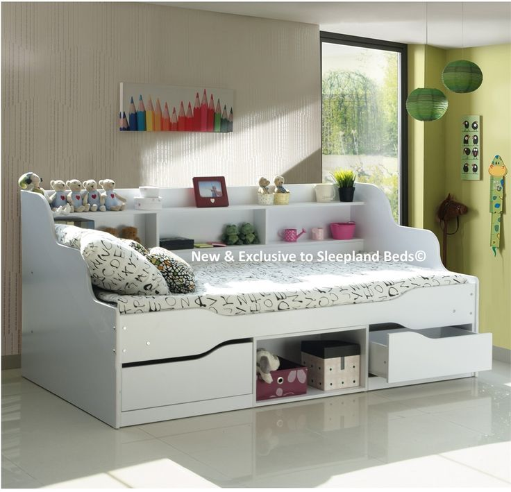 White Single Bed With Storage Part - 34: Almeria White Single Bed Frame White Bed Frame With Storage Under The Single  Bed And Shelves Across The Entire Back