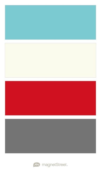 Turquoise, Ivory, Classic Red, and Charcoal Wedding Color Palette - custom color palette created at MagnetStreet.com
