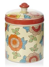 Yellow Hand Painted Sweet Nostalgia Floral Large Canister