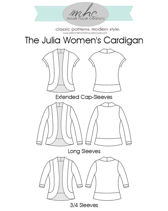 Julia Cardigan sleeve options - Mouse House Creations - great size range too!