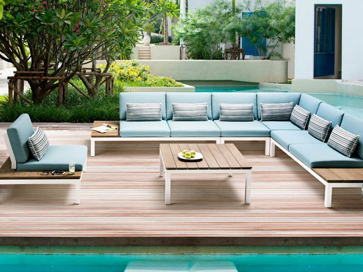 Pebble Beach Lounge Applebee | Alu Weiß & Stoff Ocean #Garten