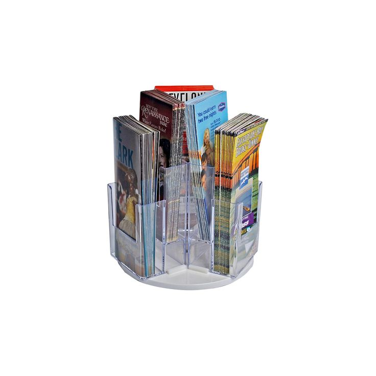 """Azar's multi-pocket revolving brochure holders are great for displaying your printed materials in a neat and organized arrangement. Number of Pockets: 6<br>Opening Dimension: 4.375"""" X 1.625"""" X 5""""<br>Base Measurement: 9""""<br>Brochure Size: Tri-fold"""