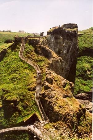 England, UK: Mainland portion of Tintagel Castle ------------------------ brutal steps. slippery when wet and the only way in or out- so narrow with 2 way traffic.