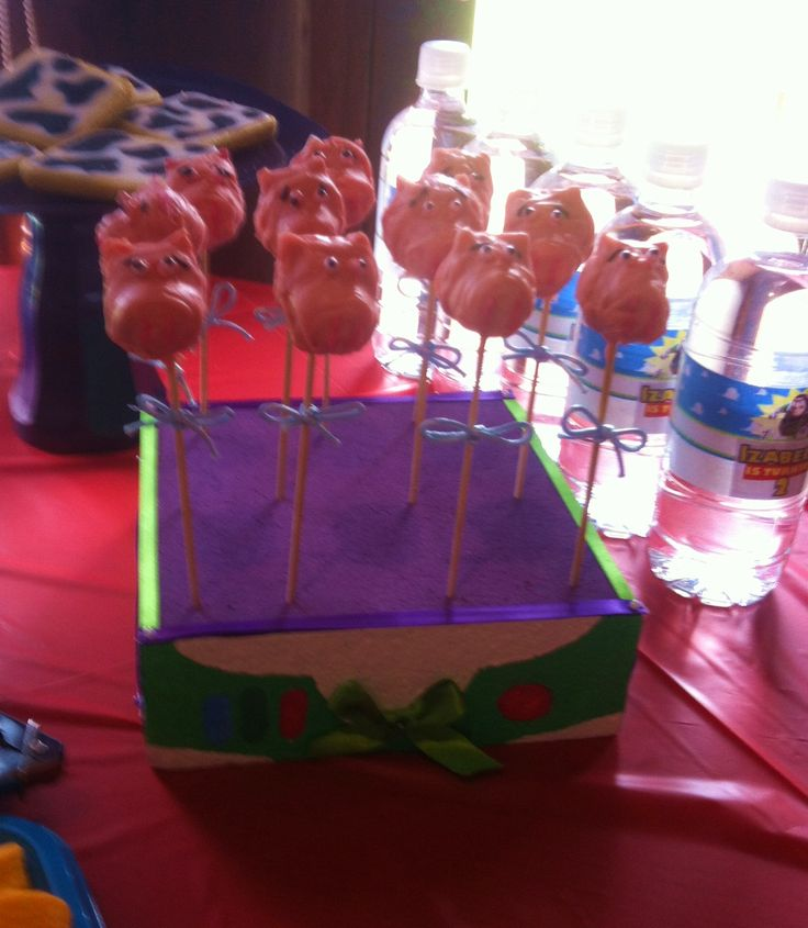 Hamm cake pops in buzz light year stand