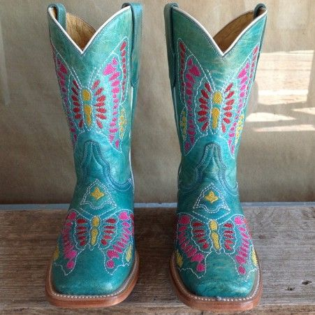 Kids Cowboy Boots- Corral Turquoise Multicolor Butterfly Children's Square Toe