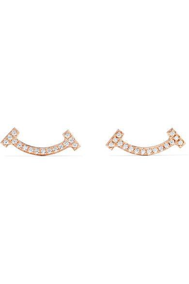 Tiffany & Co | T Smile 18-karat rose gold diamond earrings | NET-A-PORTER.COM