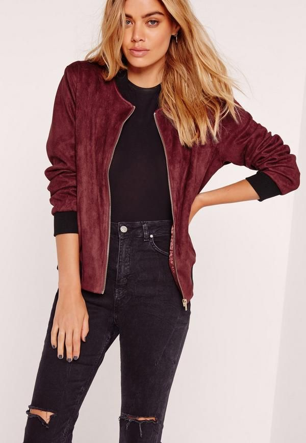 Kylie Jenner and Gigi Hadid made bomber jackets cooler than ever and this bomber will be at the top of your lust-have list! In a fancy faux suede fabric, deep burgundy hue with red lining, two faux pockets to the front, and contrast ribbed ...
