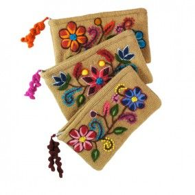 Peruvian Embroidered Clutches - Tan