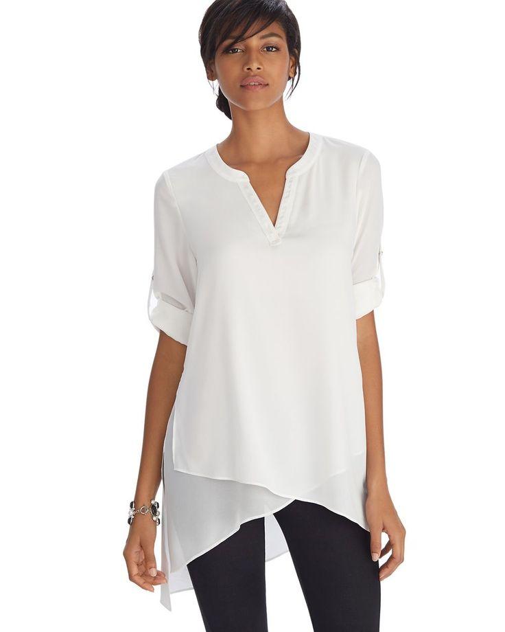 Long Sleeve Asymmetrical Henley Tunic Top