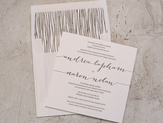 Letterpress wedding stationery. Our popular 'Hitched' design. Letterpress printed in taupe ink on our stunning cotton 300gsm paper in our square size. Custom lined envelopes.